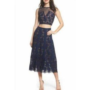 Foxiedox Navy Blue Lace Crop Top Skirt Set…